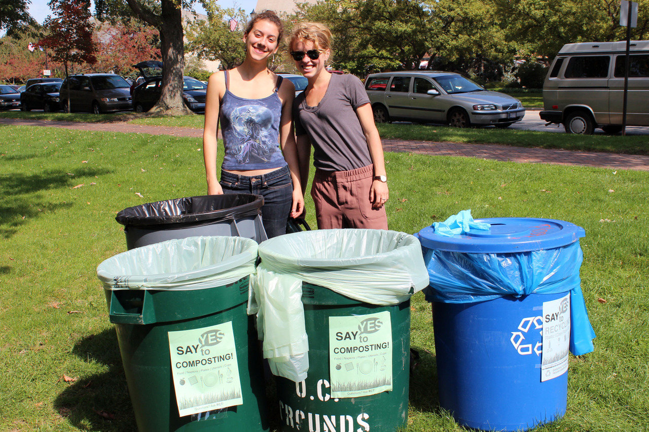 Oberlin students support composting and recycling in sunny Tappan.